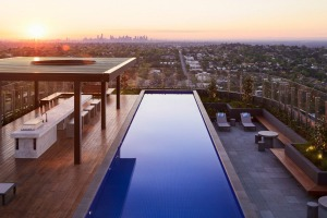 The view from the rooftop pool.