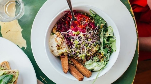 Maranui Cafe's vegan bliss bowl is a tasty and colourful way to start the day.
