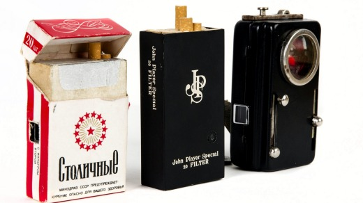 Cameras hidden in cigarette packs.