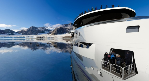 Aurora Expeditions approaches Livingston Islands.