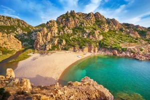 Secluded beaches of Sardinia are popular for private jetsetters.