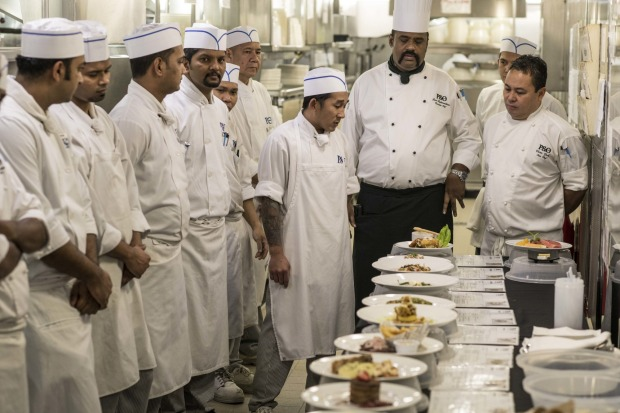 Chefs from all restaurants meet to present meals for tasting on board P&O Pacific Explorer.