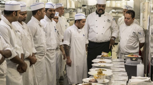 Chefs from all restaurants meet to present meals for tasting on board.