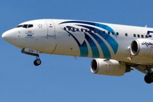 An EgyptAir Boeing 737-800. The airline is your best bet for direct flights in and out of Cairo.