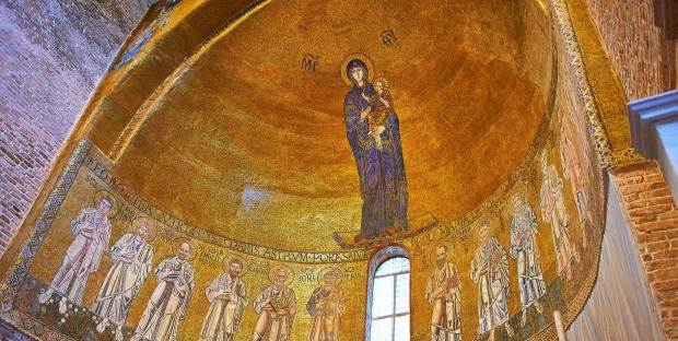 Byzantine Mosaics of the Virgin Mary and Child above the altar of the Cathedral of Santa Maria Assunta, Torcello Venice.