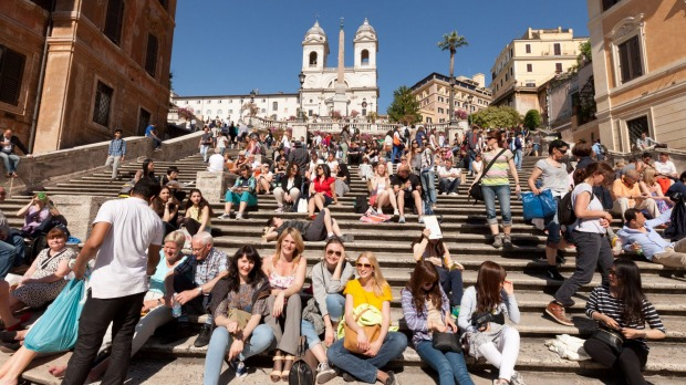 Sitting on the Spanish Steps has long been a favourite pasttime for tourists.