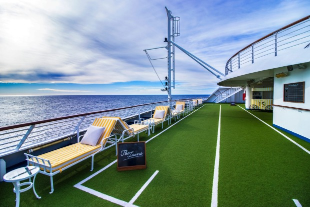 Lawn bowls deck on Pacific Explorer.