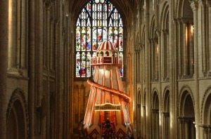 A large helter skelter has been installed inside the Norwich Cathedral, in Norwich, England.