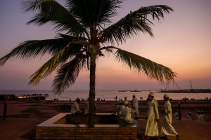Sunset promenade along the waterfront in Colombo, Sri Lanka's capital city.