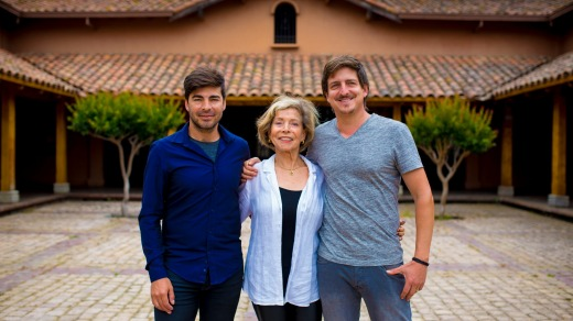 Winemaker Maria Luz Marin, of Casa Marin, with her sons.