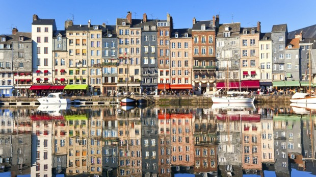 Honfleur harbour in Normandy, France.