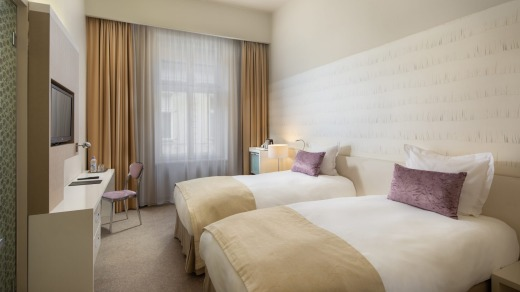 The renovated rooms are contemporary and comfortable.