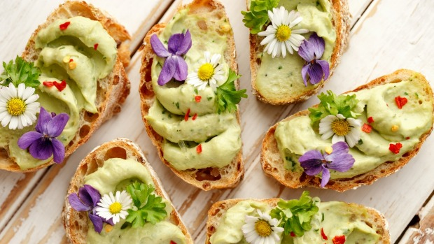 Ruined: Avocado toast, with edible flowers.