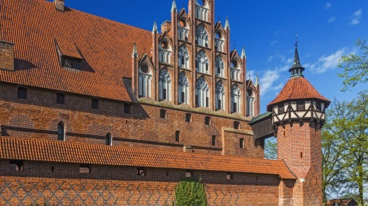 Malbork Castle, the 13th-century, brick-built headquarters of the Teutonic Knights, is one of the world's largest castles.