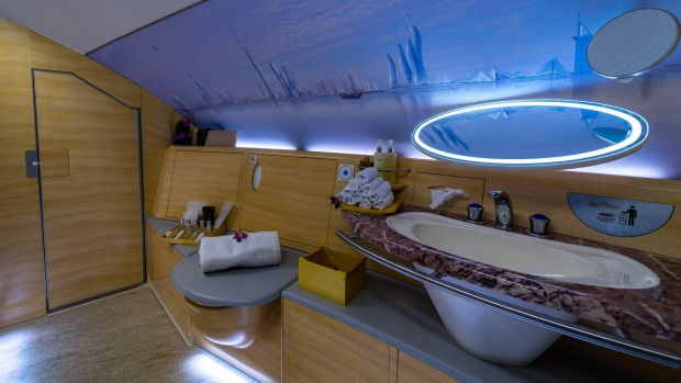 A bathroom in Emirates' first-class cabin.