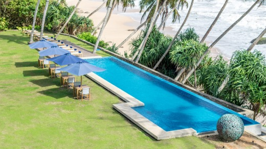 The infinity pool is a serene swimming option for when the waves get too wild.