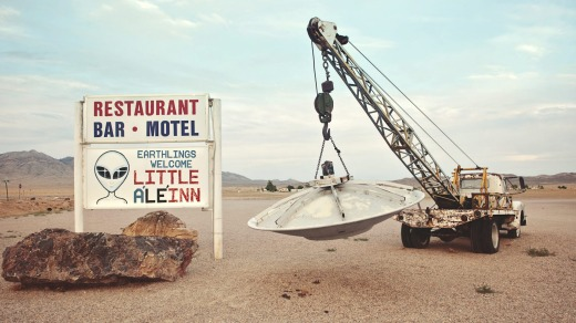 Welcome sign to Little A'Le'Inn, motel located near Area 51 on on the Extraterrestrial Highway.