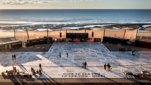 Comedy Carpet in front of Blackpool Tower, created by artist Gordon Young, and designed in collaboration with Why Not ...