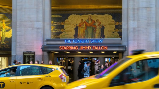 The Tonight Show with Jimmy Fallon Marquee at Rockefeller Center, New York City.