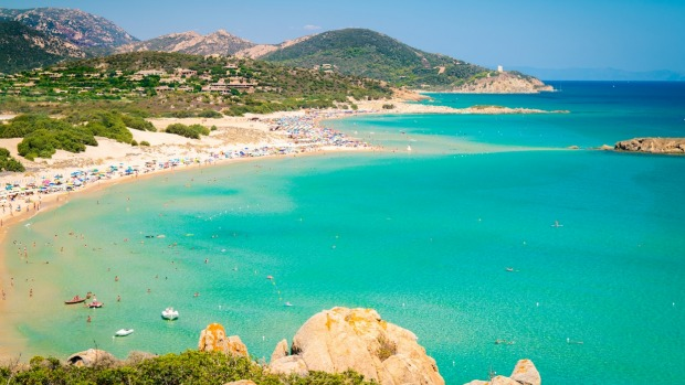 The white sand beaches of Chia in southern Sardinia.