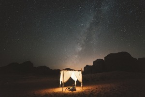 Camping under the stars in Wadi Rum.