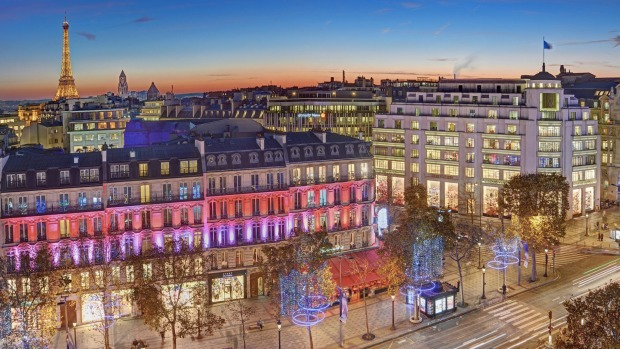 Champs Elysees in Paris lights up at Christmas.