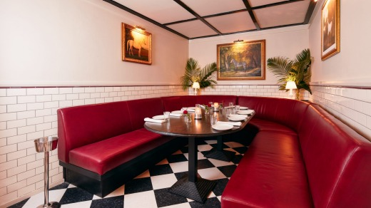 A dining booth at Bar Margaux.