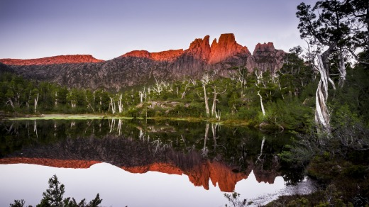 Sunset over Mt Acropolis, in the Cradle Mountain Lake St Clair national Park, Tasmania.