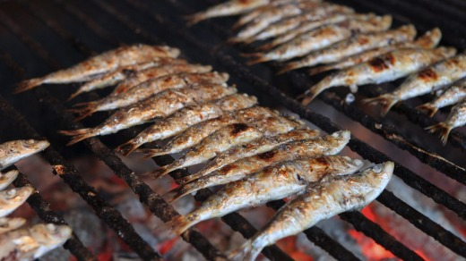 Hot charcoal grills packed with fish are a common sight in Getaria.
