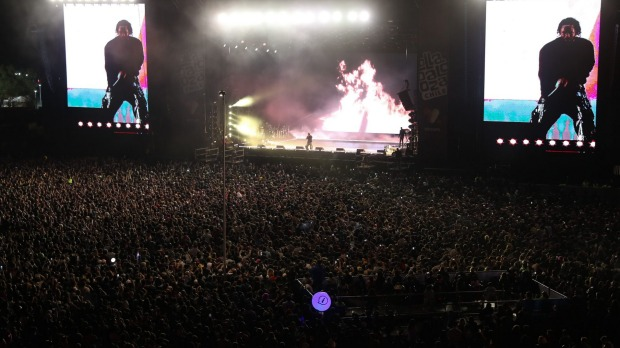 epa07472437 People attend the performance of US rapper Kendrick Lamar during the Lollapalooza Chile 2019 Festival in Santiago, Chile, 29 March 2019.  EPA/ALBERTO VALDES Festivals you've never heard of. Ben Groundwater column for Traveller tra28-online-festivals