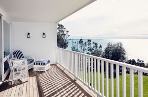Balcony of Collette Dinnigan-designed penthouse at Bannisters by the Sea.