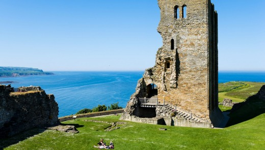 View over the Keep and North Bay from inside the Castle, Scarborough, North Yorkshire, England.