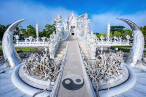 The temple combines elements of Buddhism with pop culture, like a mix between fairytale and nightmare.