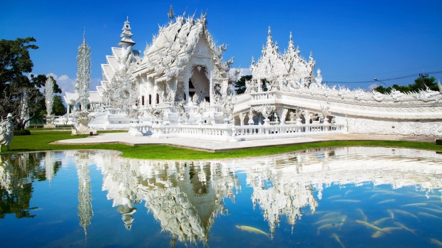 Wat Rong Khun, AKA the White Temple, is stunning and bizarre.