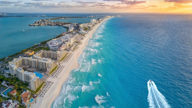 Cancun beach, Quintana Roo: Crucial to the country's tourism economy, it has more than 110,000 hotel rooms on offer.