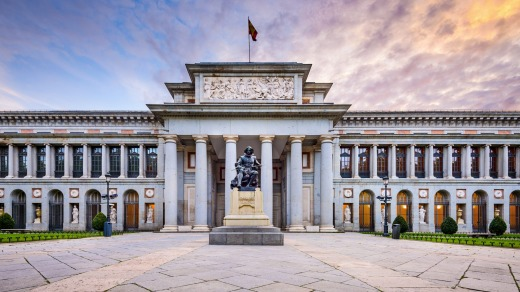 The Prado Museum facade at the Diego Velaszquez memorial.