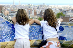 View of Barcelona from a bench from Antonio Gaudi's Parc Guell.