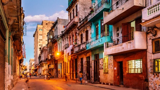 The streets of Havana at dusk.