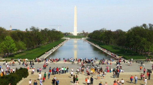 Washington's National Mall bustling with tourists on a spring day.