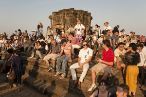 Angkor Wat, Cambodia - January 26, 2009: One of the attractions in Angkor Wat is watching the sunset from Phnom Bakheng ...