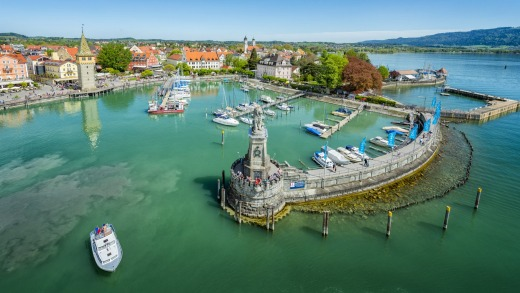 A view of Lindau harbor on Lake Constance.