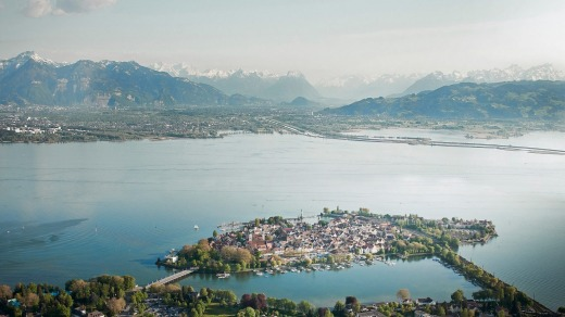 The German resort town of Lindau sits on an island in Lake Constance and has fine alpine views.