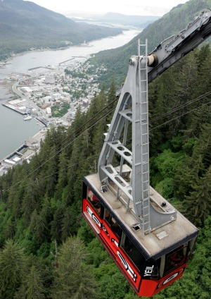 The Mount Roberts tramway affords a bird's-eye view of  Juneau.