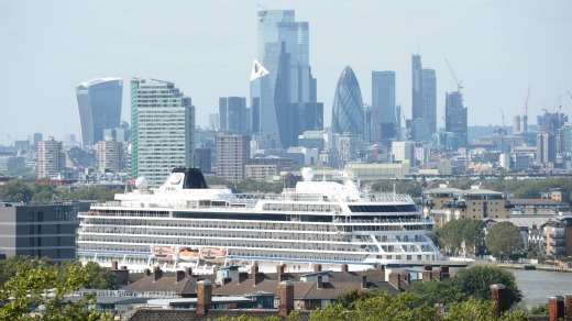 The Viking Sun departs from Greenwich Pier in London on its epic, record-breaking journey.