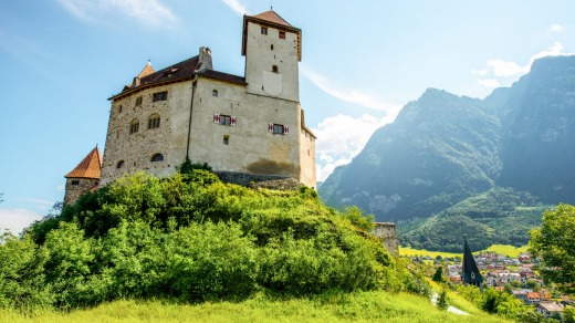 Gutenberg castle in the town of Balzers on the Liechtenstein Trail.