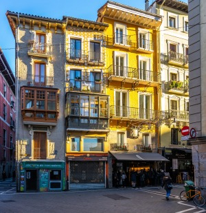 Colorful typical buildings in Pamplona old town.