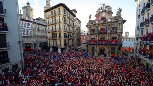 Supporters of soccer team CA Osasuna celebrate at the city hall in Pamplona, Spain, 21 May 2019.