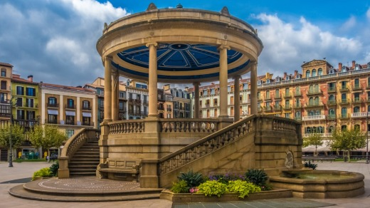 Castle Square (Plaza del Castillo) Pamplona, the historical capital of Navarre, Spain.