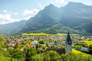Balzers village with saint Nicholas church in Liechtenstein.
