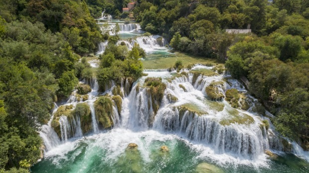 Aerial of the famous staircase waterfalls at the beautiful Krka National Park, Croatia.